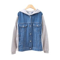 Leisure Denim Jacket with Contrast Sleeves and Jersey Hood