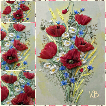 "Painting, embroidered ribbons, ""Sunny poppy"", handmade. Sold. Made to order"