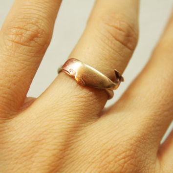 Wondrous Whale Ring Sterling Silver Band and Brass by iadornu