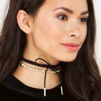 Rhinestone and Suede Wrap Choker in Gold Black