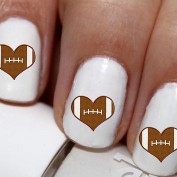 20 pc Football I Love Football Heart Football Nail Art  #cg2222na