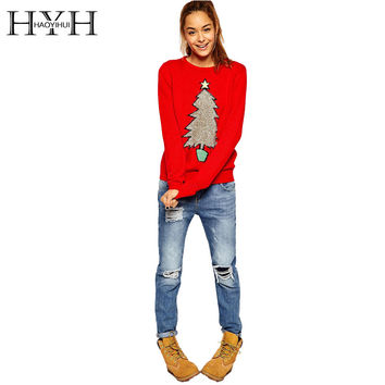 HYH HAOYIHUI  New Fashion Autumn Women Christmas Tree Print Preppy Style Full Sleeve Tops O Neck Red Knitted Sweater