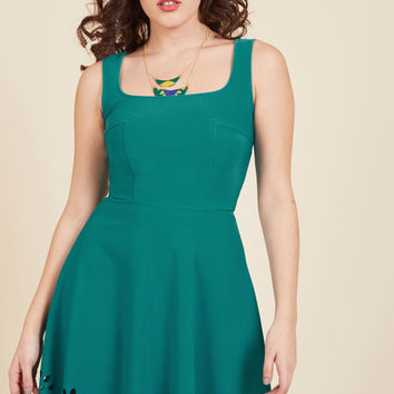 Eyelet Getaway A-Line Dress in Peacock | Mod Retro Vintage Dresses | ModCloth.com