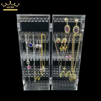 Clear Acrylic Earrings Display Holder Necklace Pendant Box Jewelry Storage Bag Organizer Cases holder up 120 pairs of earrings