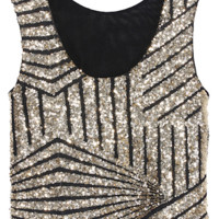 Geometric Sequin Cropped Tank Top - Gold