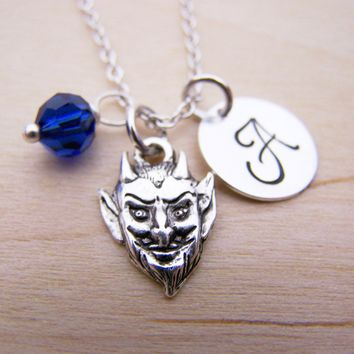 Devil Charm Swarovski Birthstone Initial Personalized Sterling Silver Necklace / Gift for Her - North Carolina Duke Blue Devils