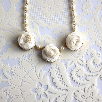 Flower Girl  Necklace Gift Rustic Wedding Country Shabby Chic Cream Off White Fabric Pearl