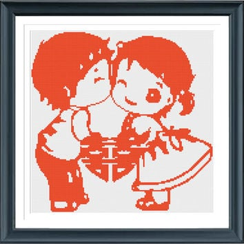 Cross Stitch Pattern Chinese Wedding, Instant Download, PDF Chart, Cartoon Couple Cross Stitch, Easy Cross Stitch
