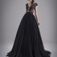 Black Formal Evening Dresses Sheer Illusion Round Neck with Lace Appliques Beads See Through Back Ball Gown Evening Prom Dresses