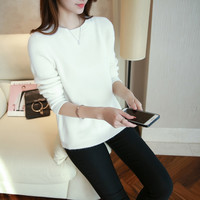 Winter Pullovers Women Tops 2016 Fashion Solid Sweater Women Casual Knitted Top Long Sleeve Pullover Women Shirt Sweater
