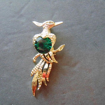 Vintage Gold tone Phoenix with Green Rhinestone Body Brooch Pin Lapel Costume Jewelry
