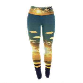 "Robin Dickinson ""Conquer Your Wold"" Gold Blue Yoga Leggings"