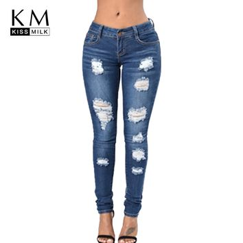 kissmilk 2018 Autumn Solid Blue Women Jeans Hole Bleached Low Waist Zipper Fly Female Clothing Skinny Casual Lady Pencil Pants