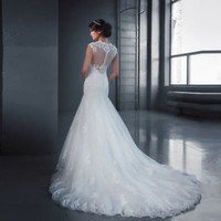 Fit to Flare White Bridal Wedding Dress with Lace Custom Size 2 4 6 8 10 12 14
