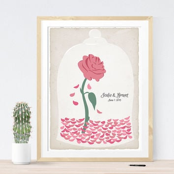 Beauty and the Beast Wedding Guest Book Alternative with Rose for Fairy Tale Wedding, Be our Guest Book,