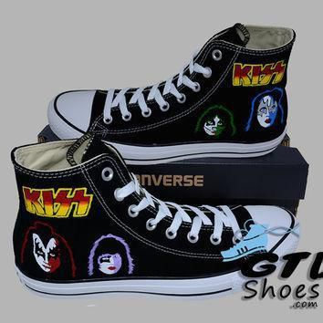 hand painted converse hi kiss gene simmons paul stanley eric singer tommy thayer