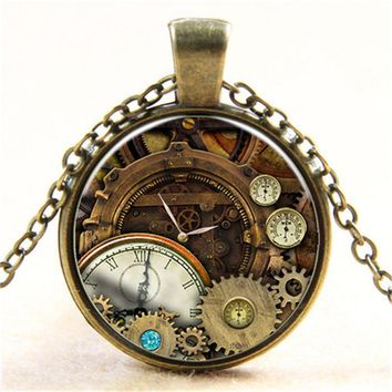 Printing Clock Compass Pendant Necklace