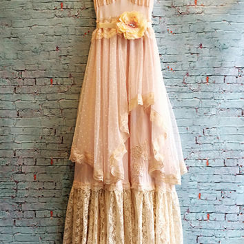Reserved for damaris whisper pink & cream polka dot tulle lace handkerchief hem boho prom dress by mermaid miss k