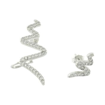 Sparkly Asymmetric Wave Ear Crawlers | 925 sterling silver earrings