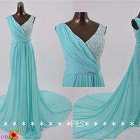 Tiffany Blue Bridesmaid Dress, Long Blue Chiffon Dress, Beaded Wedding Reception Dress,Sexy Tiffany Blue Evening Dress/Prom Dress/Homecoming