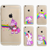 Cute Hippo Rainbow Unicorn Back Cover For Apple Iphone 5 5S SE 6 6s Plus Soft Tpu Phone Case Cartoon Animal luxury Silicon Coque