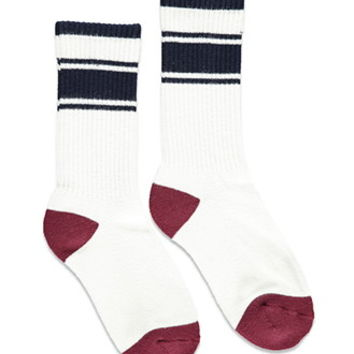Striped-Trim Crew Socks