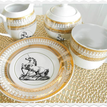 Gold Unicorn Plates /Tea Items, Available on Any Item in Shop, Can be Monogrammed. PAYMENT OPTIONS AVAILABLE, Discounts on Large Orders