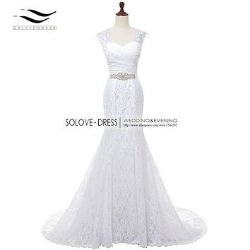 2017 Bridal Gown Real Photos White Cheap Mermaid Lace Wedding Dress Real Cap Sleeves Detachable With Sash vestido De noiva w202