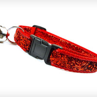 "Cat Collar - ""Superstar"" - Ruby Red Sparkle"