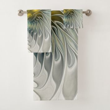 Golden Silver Flower Fantasy abstract Fractal Art Bath Towel Set