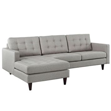 Empress Left-Facing Upholstered Sectional Sofa, Light Gray