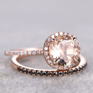Rose Gold Morganite Wedding Set Black Diamond Half Eternity Ring 1.2 Carat Thin Stacking Band 14k/18k