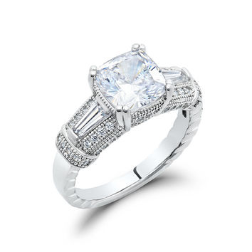 Sterling silver bonded with platinum cushion cut rings and simulated diamonds by swarovski.  ZR-0209