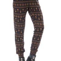 Leggsington Skully Winter Soft Knit Skull Print Joggers