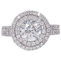 GIA certified Double Halo Round Engagement Ring