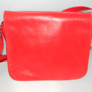 Vintage Enny leather Handbag, in red, softest leather Enny In, Made in Italy