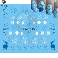 1Sheet Christmas Snow Flower Nail Art Water Transfer Nail Stickers Decal Full Cover Tips Christmas Xmas Gift STZ415-439