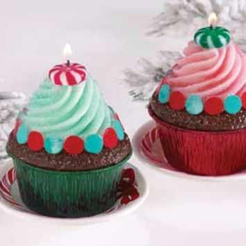 6 Christmas Cupcake Candles - Mint Candy Design