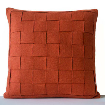 Orange Pillow - Felt Weave Pillows -Throw Pillow- Decorative Pillows- Gift- 24x24 -Modern decor -Chair Pillow -Wool Mat pillow -Autumn Decor