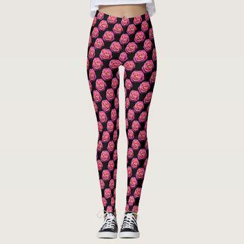 Pink rose flower pattern leggings