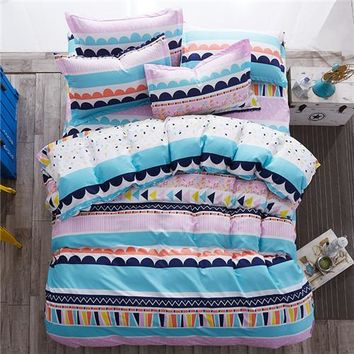 reversible bedding set Pastoral duvet cover flat sheet modern bed linen darkblue bed set side home decor tree snowflake