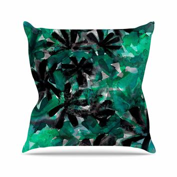 "Ebi Emporium ""Snowy Stars 5, Green"" Green Black Painting Outdoor Throw Pillow"