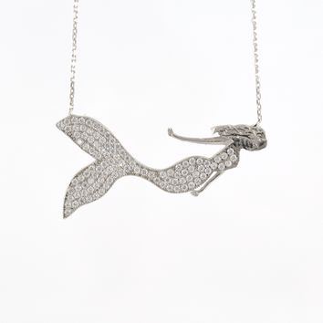 925 Sterling Silver Rhodium Plated Mermaid Necklace