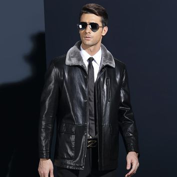 Long Casual Leather Winter Jackets Men Excellent Fur Turn Down Collar