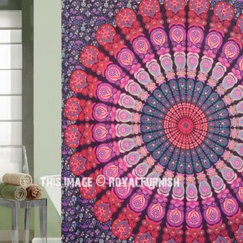 Pink  Purple Indie Mandala Bath Shower Curtain on RoyalFurnish.com