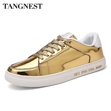 Tangnest 2017 Spring Man Bling Flats Lace-Up Round Toe Solid Shallow Round Toe Solid Man Shoes Fashion Casual Man Shoes XMR2549