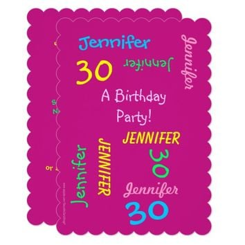 30th Birthday Party Invitation Custom Pink Names