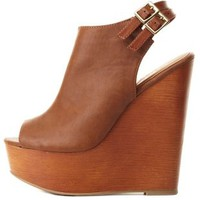 Tan Double Slingback Peep Toe Wedges by Charlotte Russe