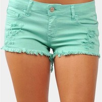 Grunge Girl Denim Shorts - Mint
