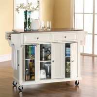 Stainless Steel Top Kitchen Island / Cart in White with Locking Casters